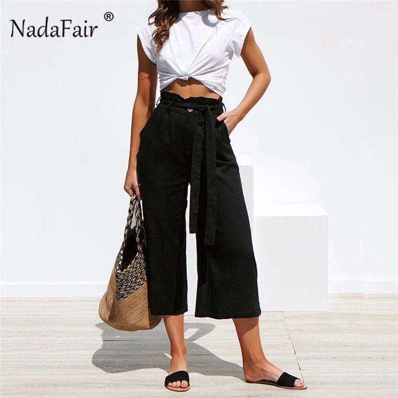Photo of Pantaloni estivi FSDA 2019 con cintura Donna Casual Coulisse Stringata Vita alta Solido Elegante Pantaloni – nero, s