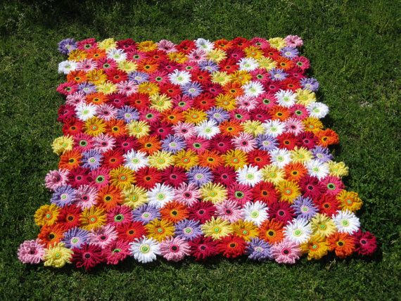 Crochet Pattern GERBERA GARDEN Blanket/Afghan/Throw PDF by kuuyu