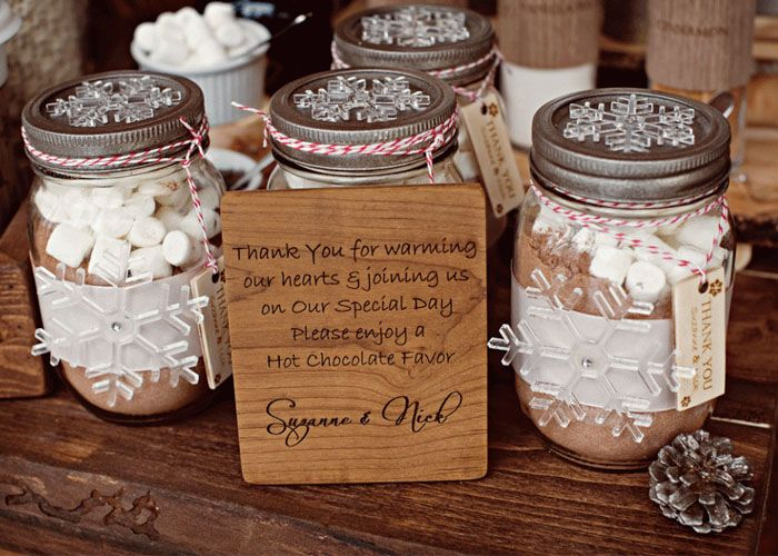 Winter Themed Wedding Hot Chocolate Wedding Favors Place Cards
