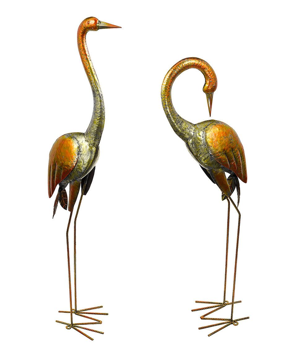 Take a look at this Hammered Metal Crane Statue - Set of Two today!