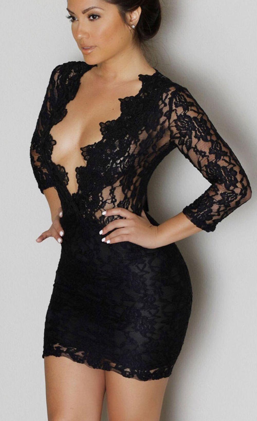 $32.99 Lace V-neck Mini Club Dress