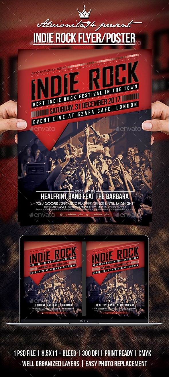 Indie Rock Flyer Poster Indie Flyer Template And Template