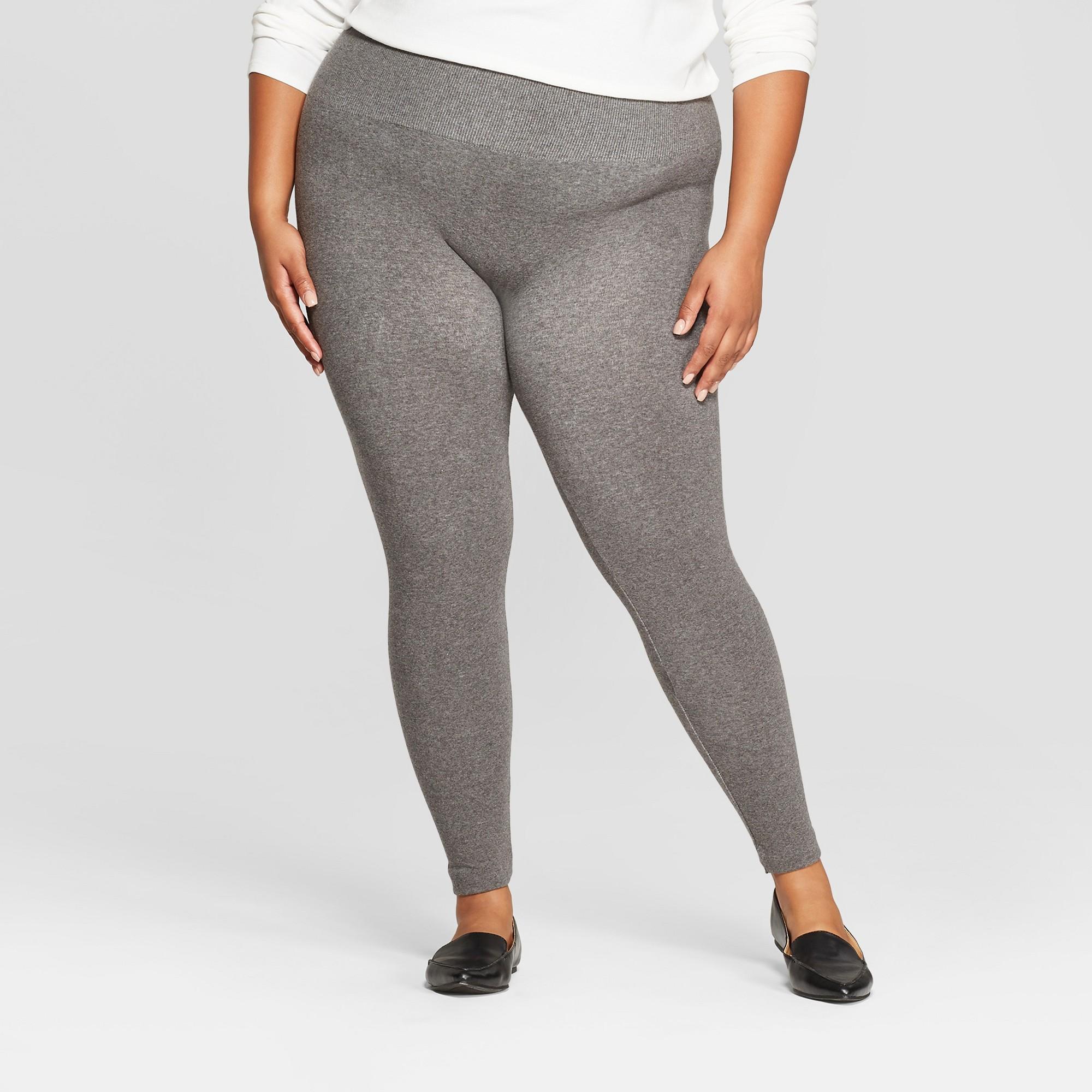 ddba0e99a030bf Women's Seamless Fleece Lined Leggings - A New Day™ Heather Gray 1X ...