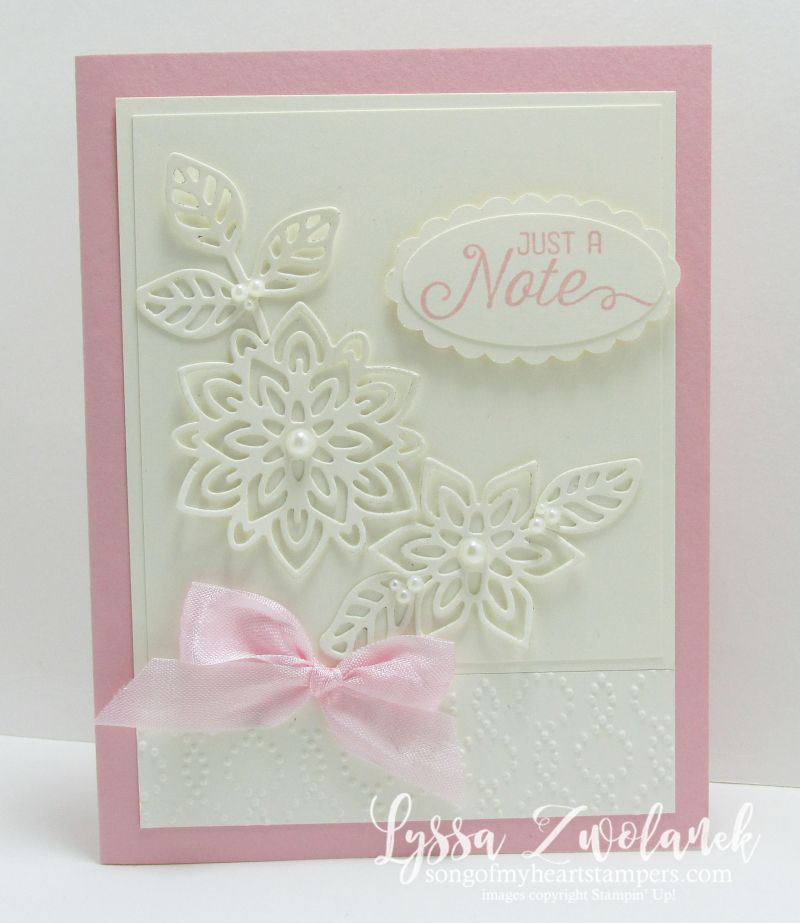 In love with these lacy, pink and vanilla notecards! Pink vanilla flourishing flourish thinlets card stampin up