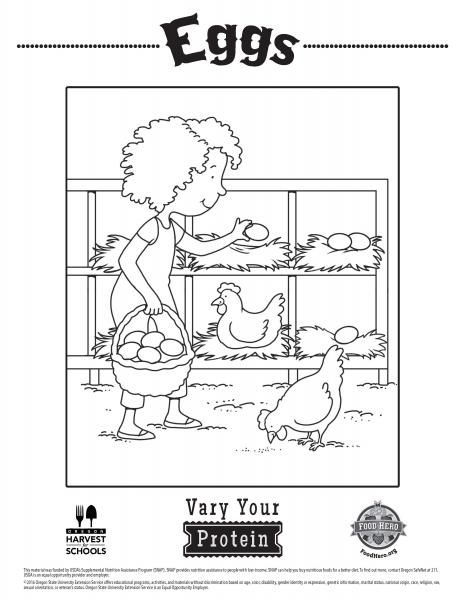 Coloring Pages Food Hero - Egg coloring sheets - protein coloring - food sign up sheet template