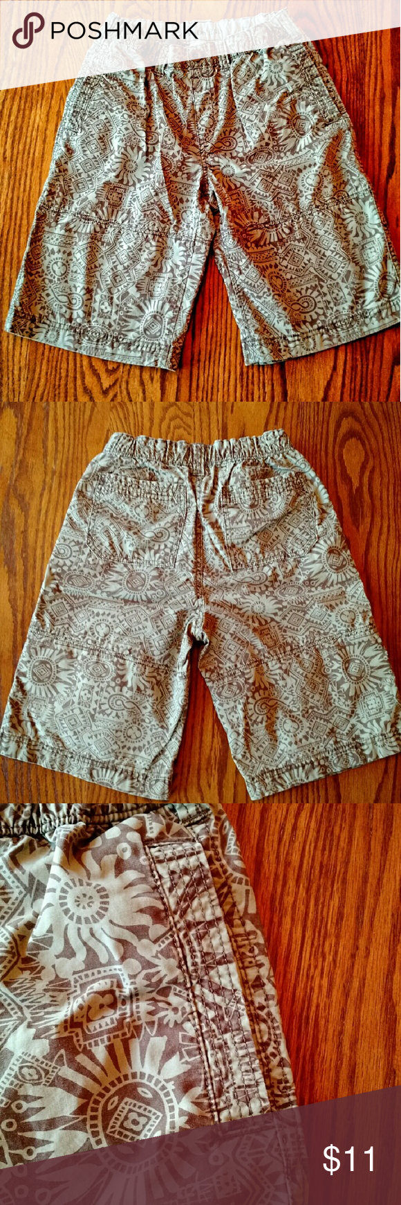 Lands' End Kids Beach Print Canvas Climber Shorts Your son's go-to for the summer and early fall. Super strong, comfy and roomy, with a button and elastic waist. 2 big pockets. Unless comfort. Lands' End Bottoms Shorts