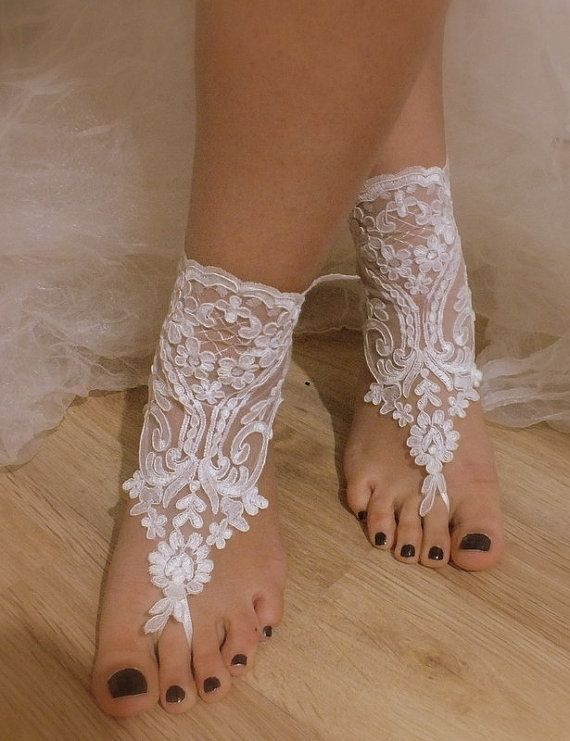 French Lace Barefoot Sandals For Beach Wedding Or If You Just Want To Be Barefoot But Have The Appearance Of Wearing Sandals