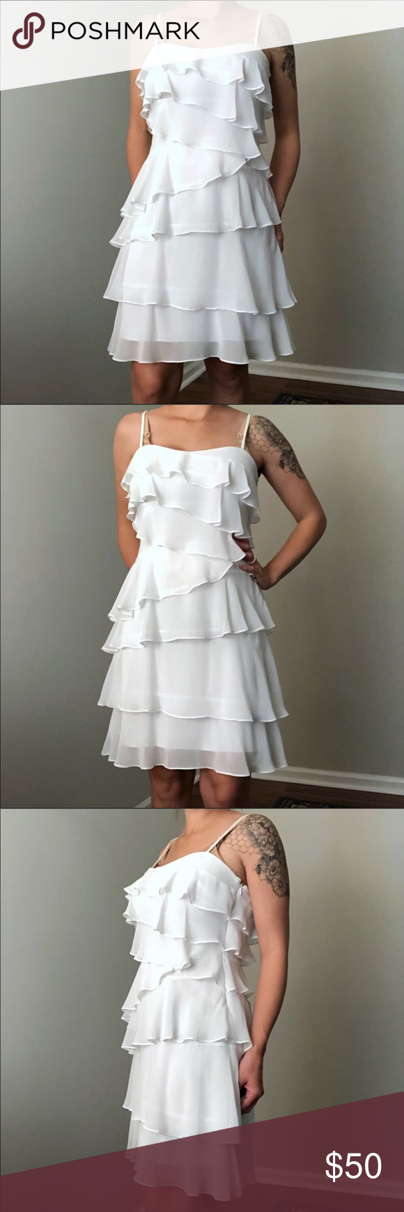 Calvin Klein White Tiered Ruffle Dress Size 6 Tiered Ruffle Dress Ruffle Dress Calvin Klein White [ 1740 x 580 Pixel ]