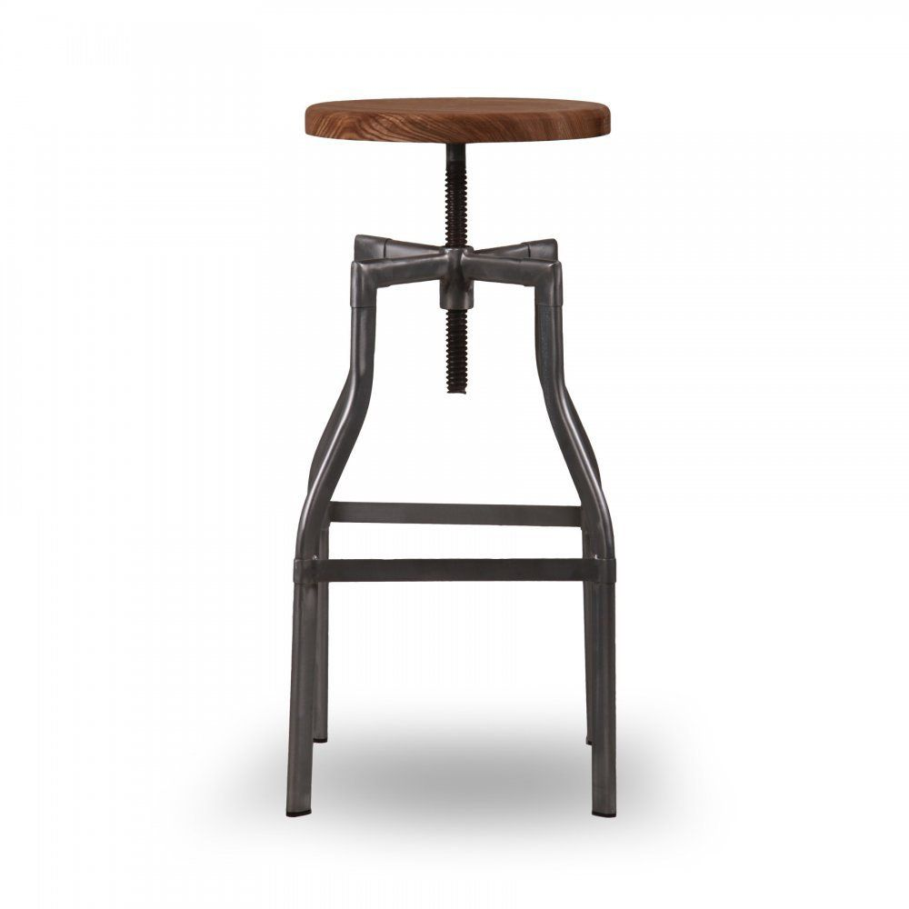 Retro Kitchen Bar Stools Turner Swivel Industrial Stool Raw Gunmetal 62cm Industrial