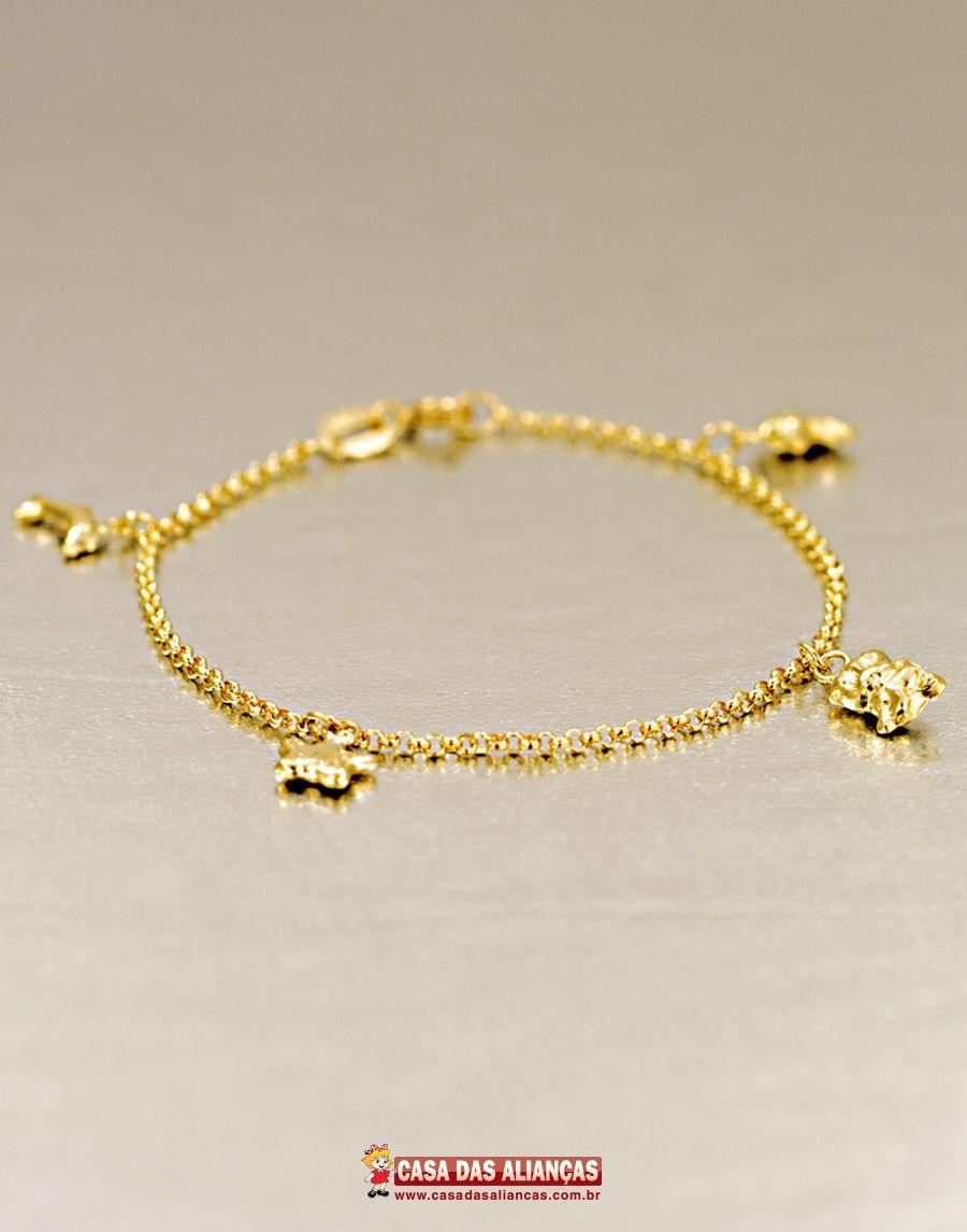 212a4576d6815 Essa linda pulseira infantil em ouro 18k com elo português é o acessório  ideal para presentear