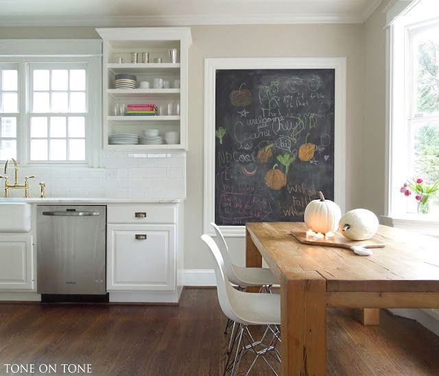 Grey Kitchen Cabinets Yellow Walls: Benjamin Moore Edgecomb Gray And Simply White Trim. Tone