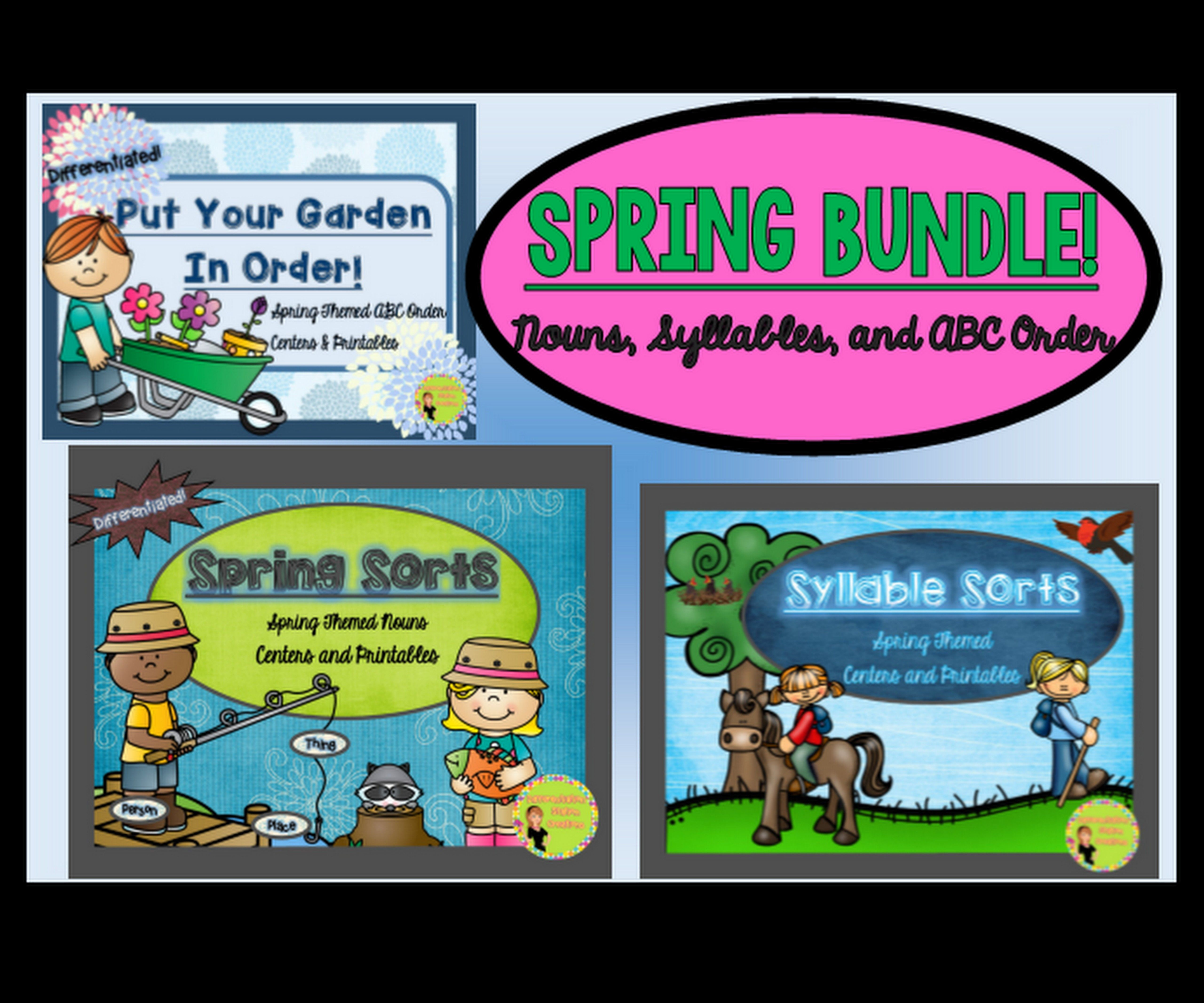 Bundle Spring Themed Abc Order Syllable Sorts Noun