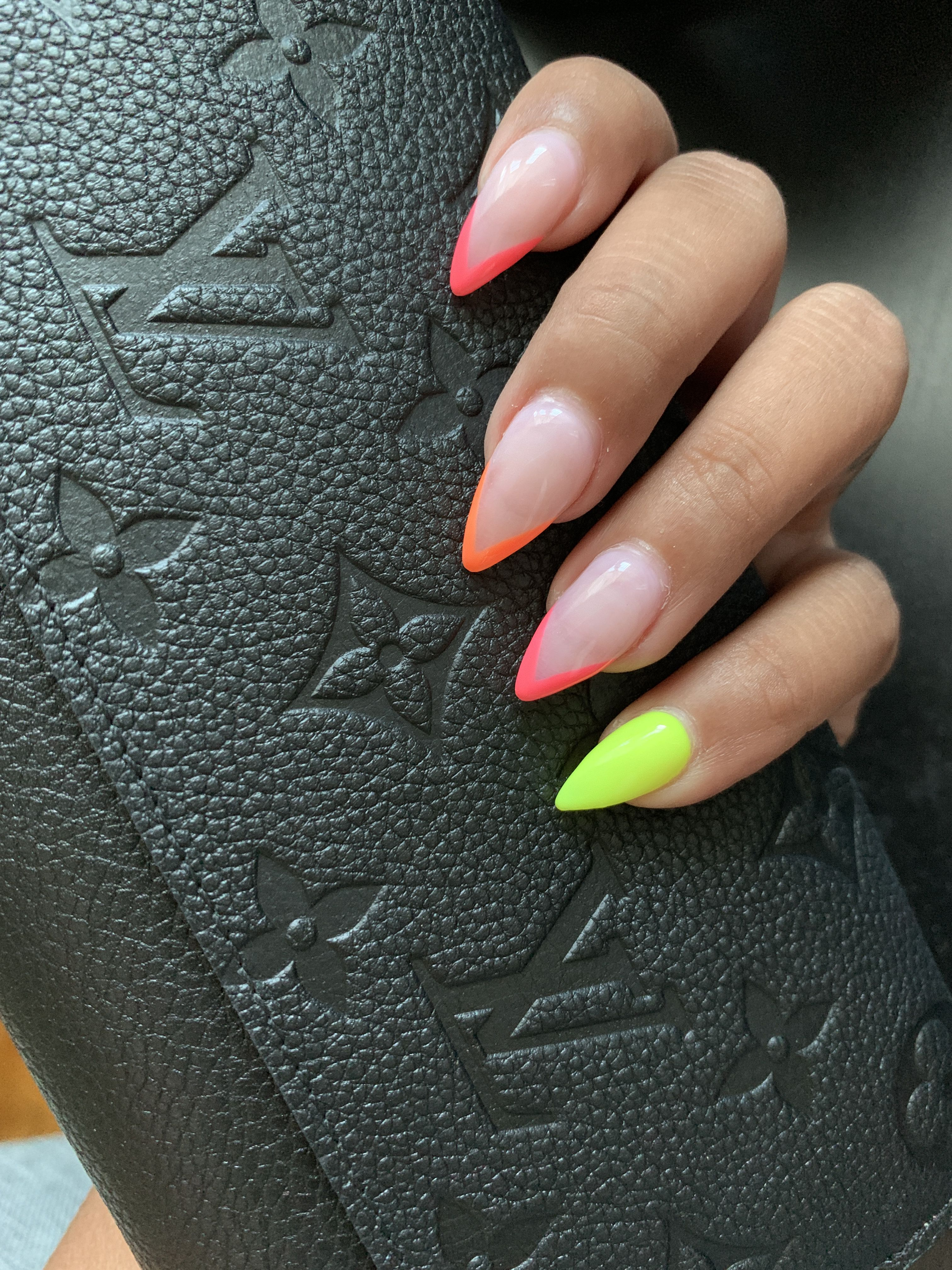 Neon French | French tip acrylic nails, Almond acrylic ...