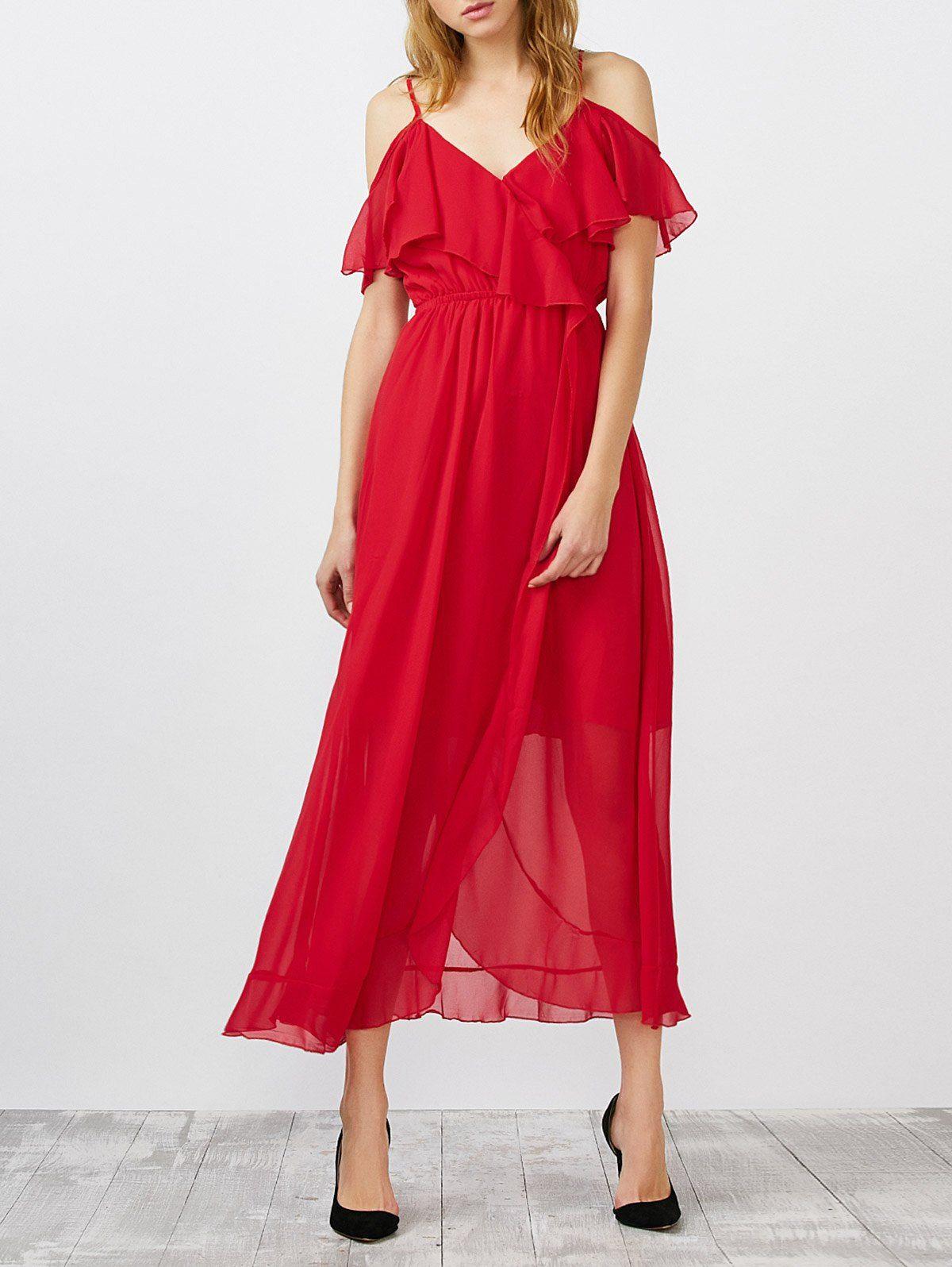Empire waist ruffle slit spaghetti strap dress in red sammydress