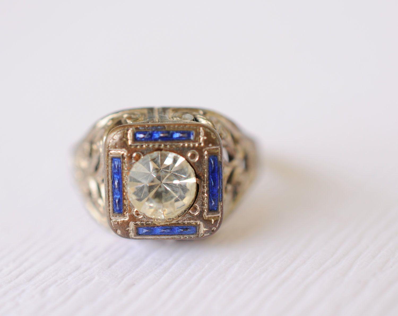 God, I love this. 1920s Art Deco / vintage enamel and rhinestone ring // NEMCO. $60.00, via Etsy.