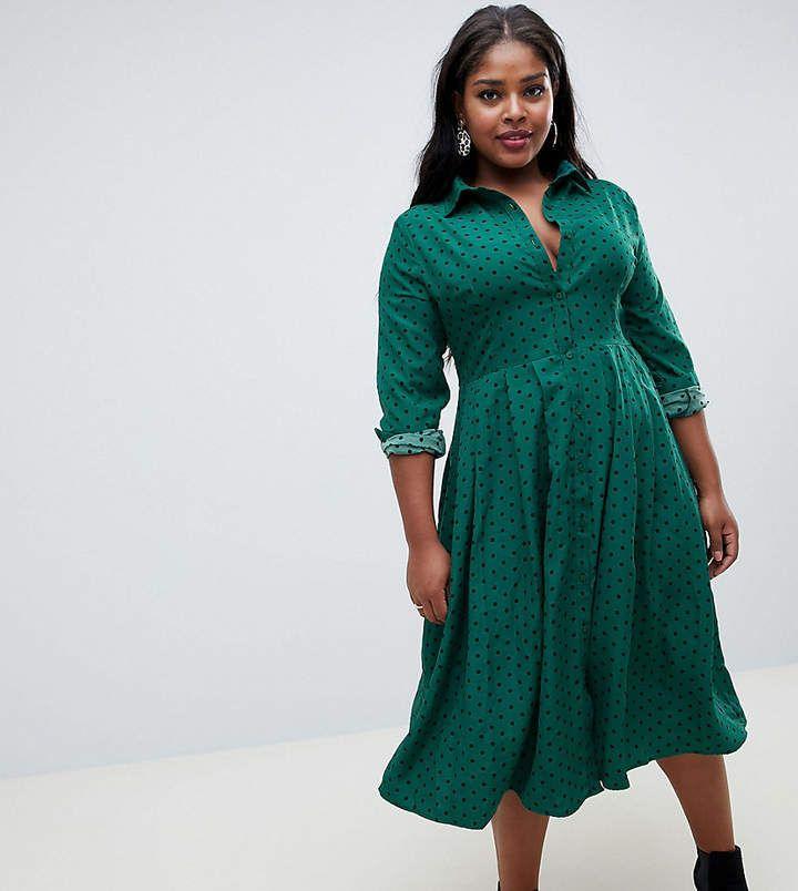 8cfa45cff1b Glamorous Curve midi shirt dress with pleated skirt in polka dot print   ShopStyle  shopthelook