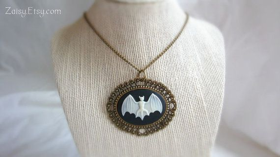 Bat Necklace Short Length Cameo Jewelry by Zaisy on Etsy