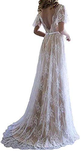 Amazing offer on Fashionbride Women's Bohemian Wedding Dresses Short Sleeve V Neck Lace Beach Wedding Gowns ED73 online - Chicideas 3