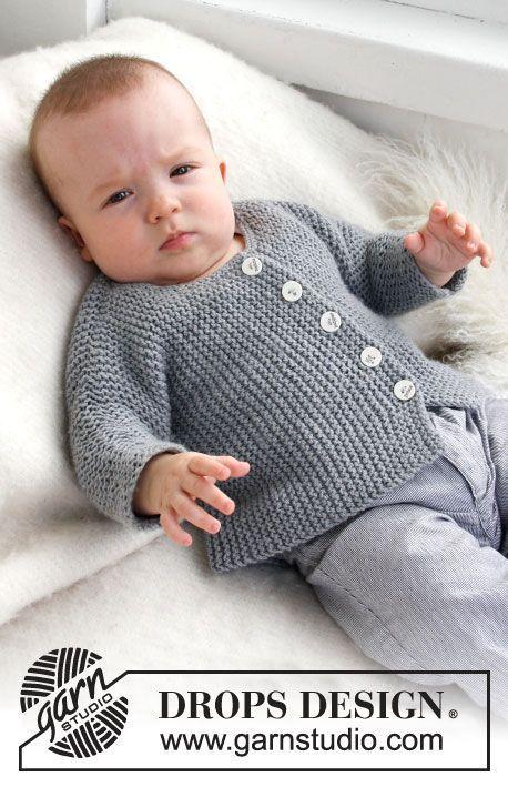 Grey Gosling / DROPS Baby 21-39 - Saco de punto para bebé y niños ...