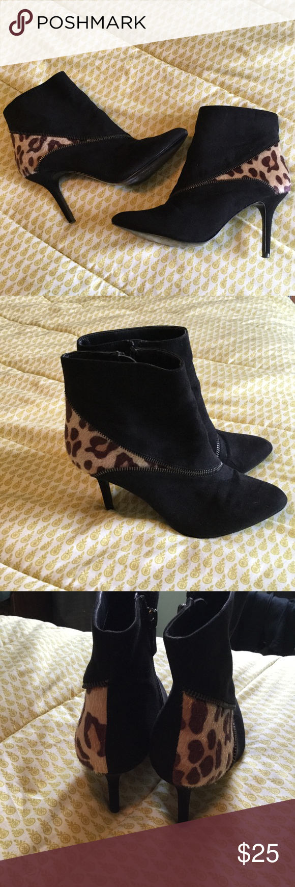 """6c114ddd1d Kelly & Katie suede and leopard ankle boots Zip up boots Stylish zipper  design on toe and leopard on the heel Approx 3"""" skinny heel Barely worn size  7.5 ..."""
