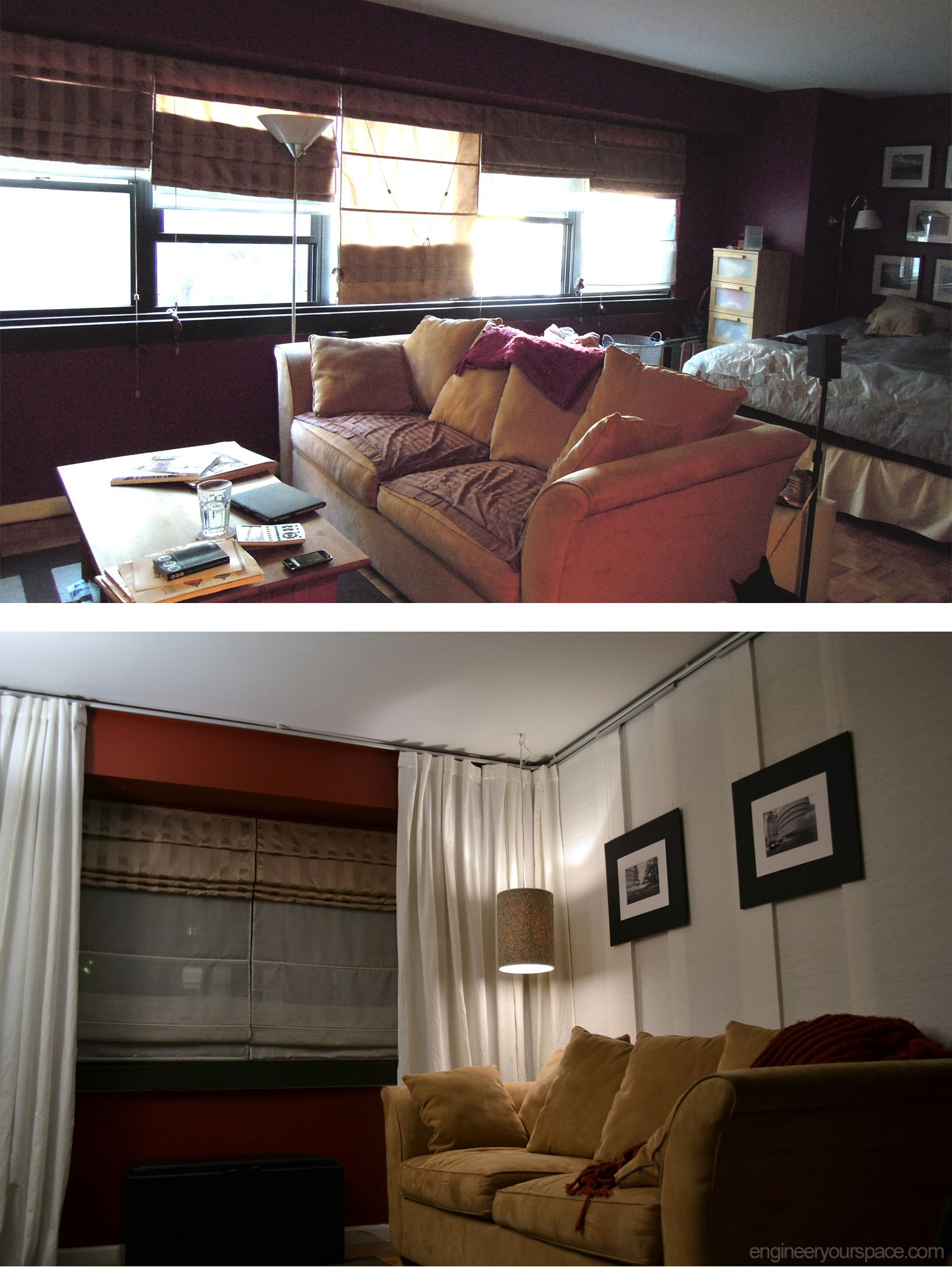 NYC Studio Apartment Makeover DIY Installation Of IKEA Kvartal Hanging Room Divider