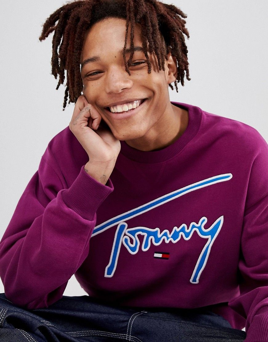 c6941cab TOMMY JEANS SIGNATURE CAPSULE LOGO FRONT SWEATSHIRT RELAXED FIT IN PURPLE -  PURPLE. #tommyjeans #cloth #