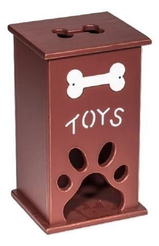 PET TOY BOX Handmade Wood Dog Cat Storage With Bone Paw Print Custom Finish