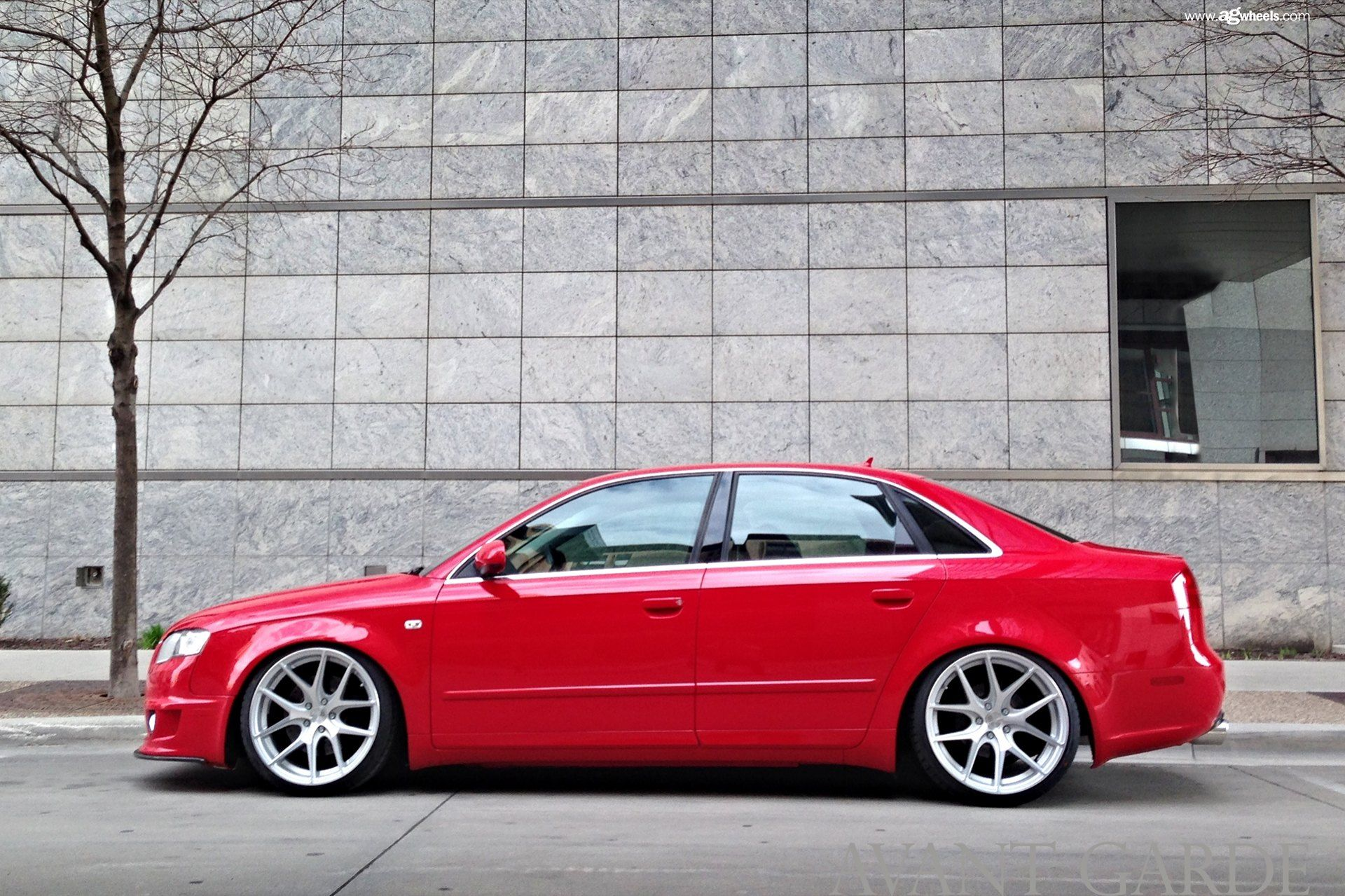 Red Audi A4 Gets Stylish Looks With Polished Avant Garde Wheels Red Audi Avant Garde Wheels Audi