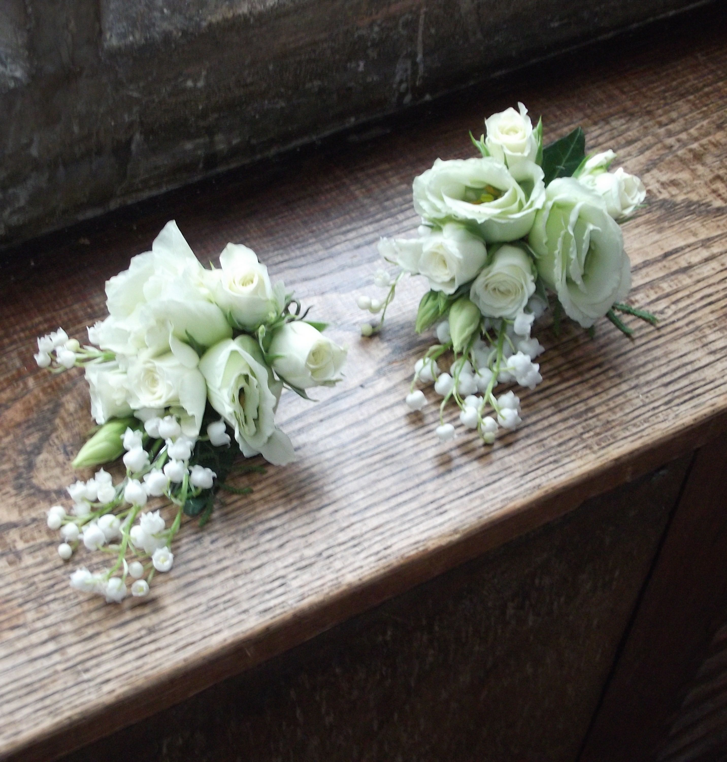 Mums Ivory Lapel Corsages With Lilly Of The Valley Spray Roses And Lisianthus For