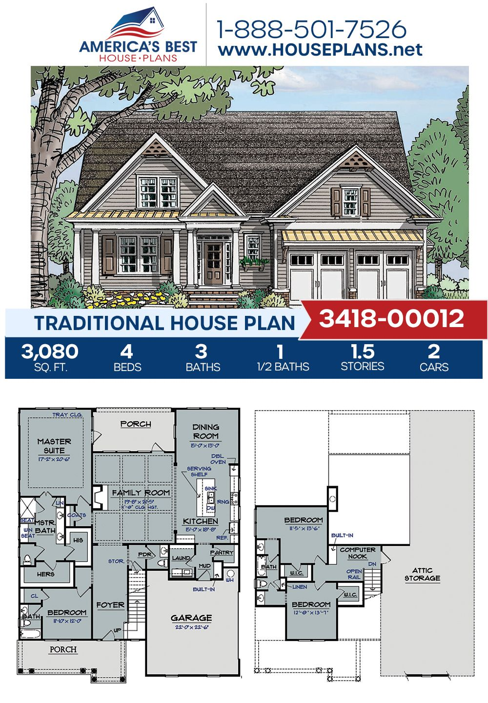 House Plan 3418 00012 Traditional Plan 3 080 Square Feet 4 Bedrooms 3 5 Bathrooms In 2020 House Plans Traditional House Plans Dream House Plans