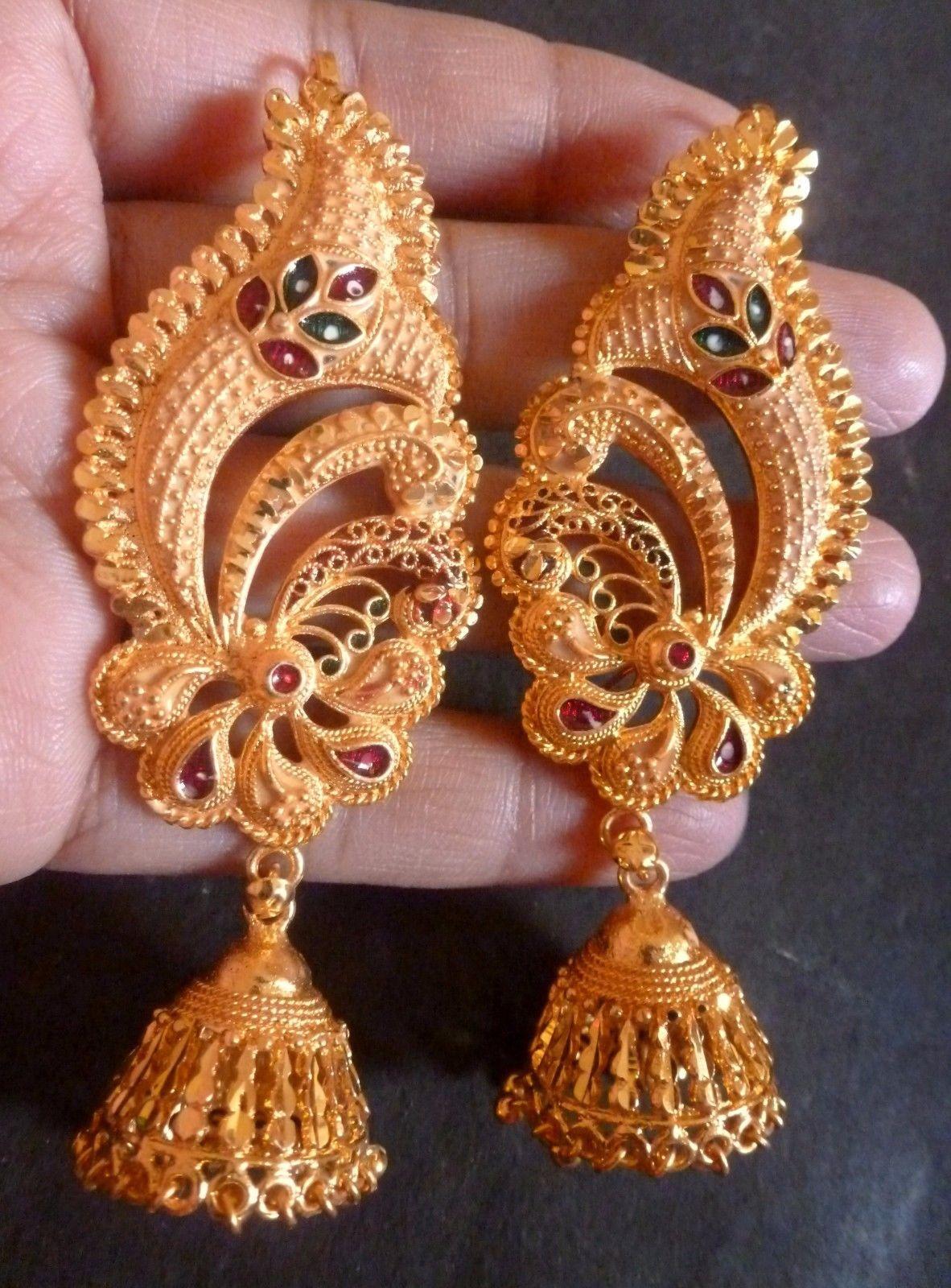 Gold plated meenakari indian full ear wedding jhumka earrings party