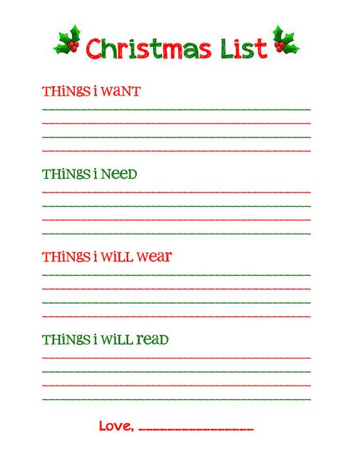 Christmas Wish List Printable  Christmas List Template For Kids