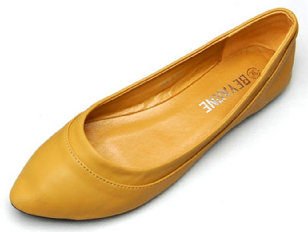YELLOW AND TREE Women's Falts Shoes Slip-On Pointed Toe Ballet Flats Brown Size 7