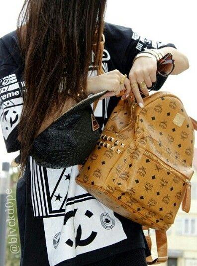 Street fashion, mcm backpack, snapback, blvckfashion