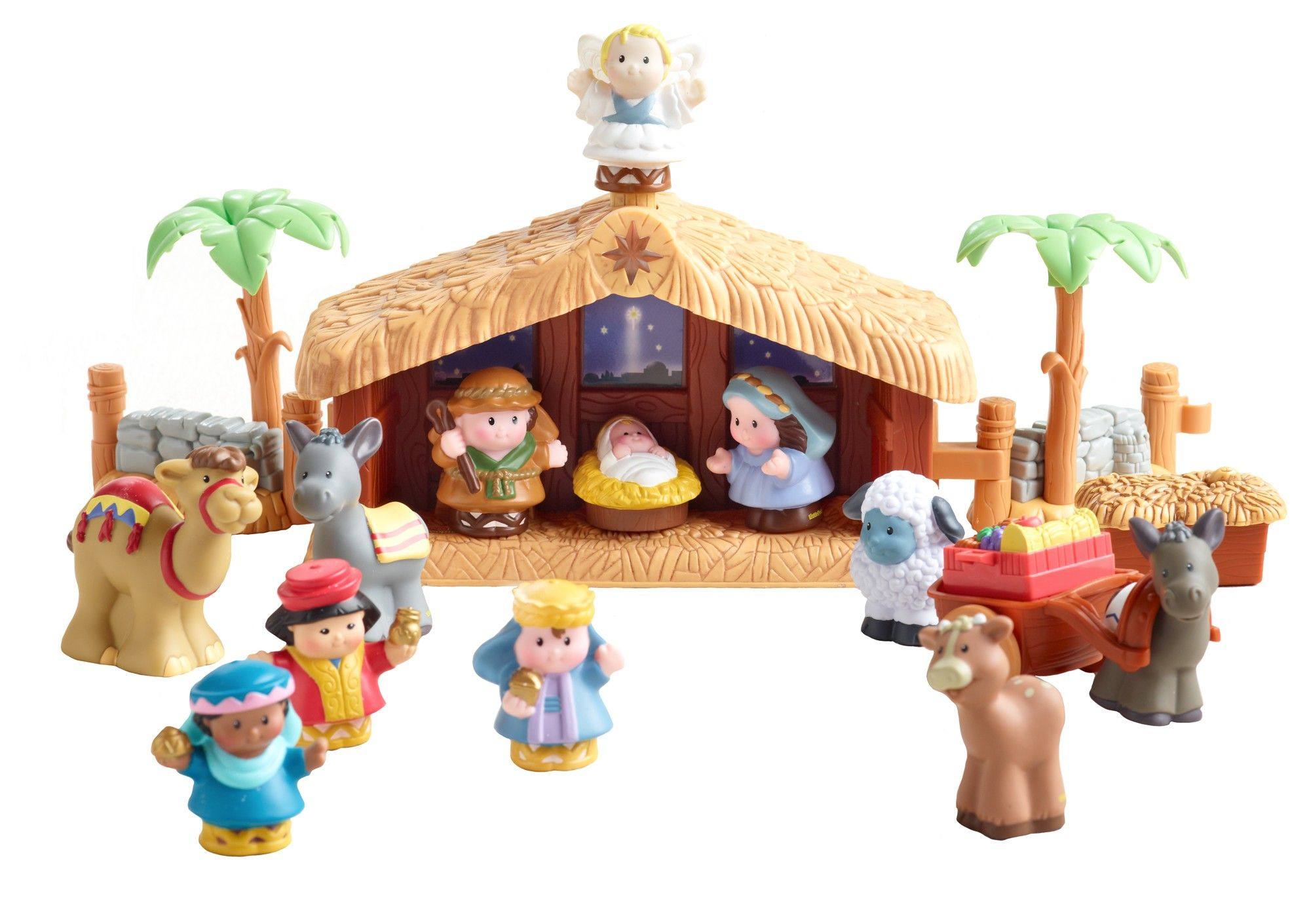 "[""Joseph, Mary and the baby Jesus share the stable with their animal friends in this Little People re-telling of the Christmas Story. Place the angel atop the stable to activate the light-up star and hear the holiday favorite \""Away in a Manger\"" play.The perfect size for little hands, the Little People nativity set is the perfect introduction to the story of the birth of Christ for young children. Set Includes:<\/b>Joseph<\/li>Mary<\/li>Baby Jesus<\/l…"