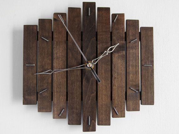 sale wooden wall hanging clock wood dark coffee old silent movement