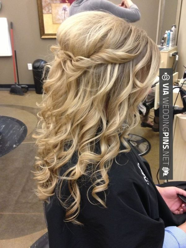 Wedding Guest Hair - Cute and easy. Half Up with curls | Hair styles, Prom hairstyles for long ...