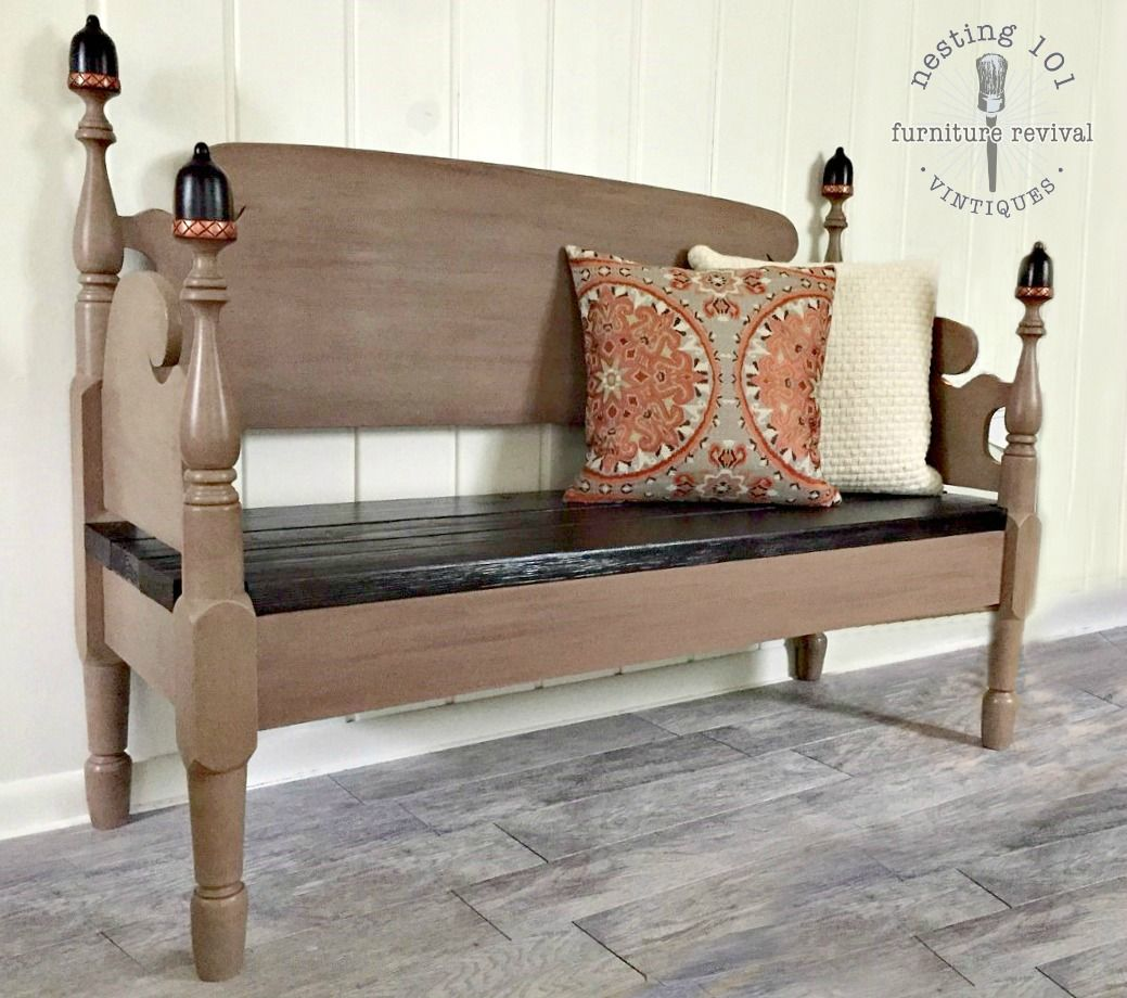 Rustic Acorn Bench Built From A Full Size Headboard Footboard Leather Bed Headboard Painted Benches Leather Bed