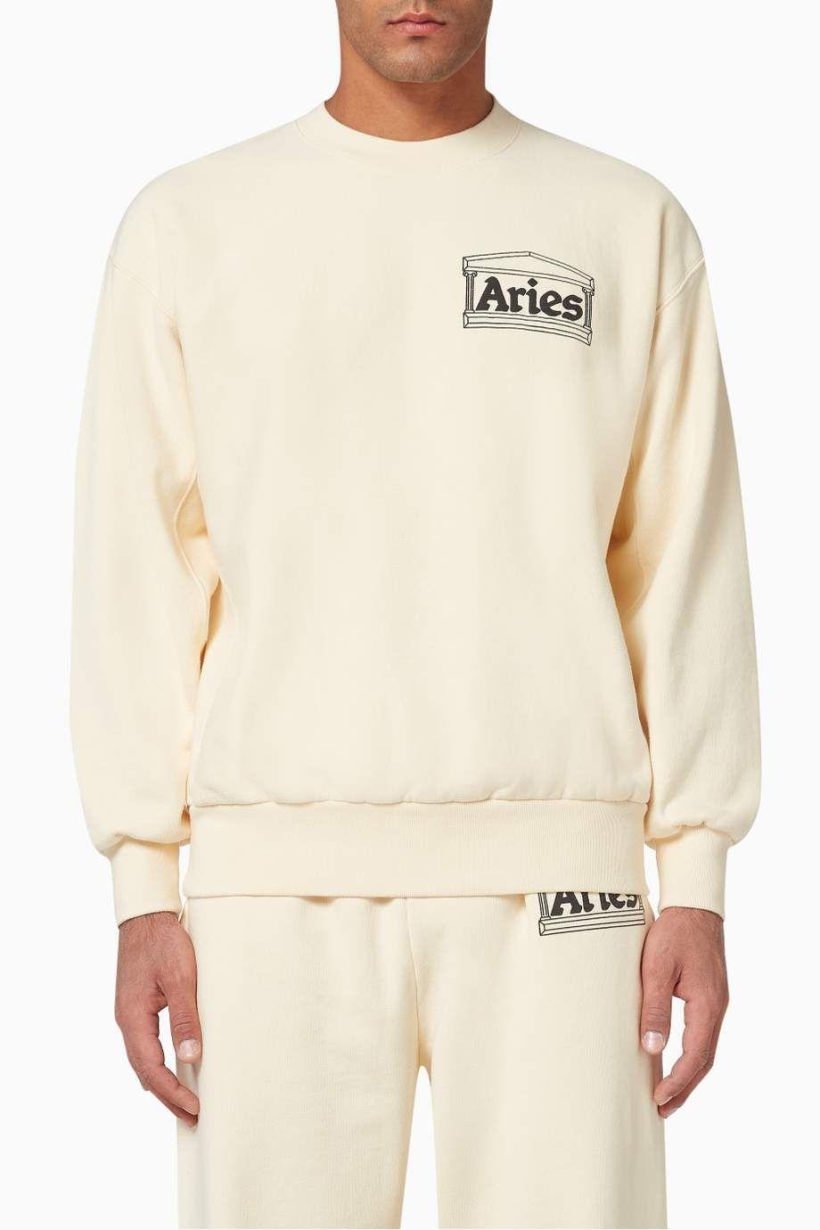 Shop Aries Neutral Temple Premium Cotton Sweatshirt For Men Ounass Uae Cotton Sweatshirts Long Sleeve Tshirt Men Mens Outfits [ 1380 x 920 Pixel ]
