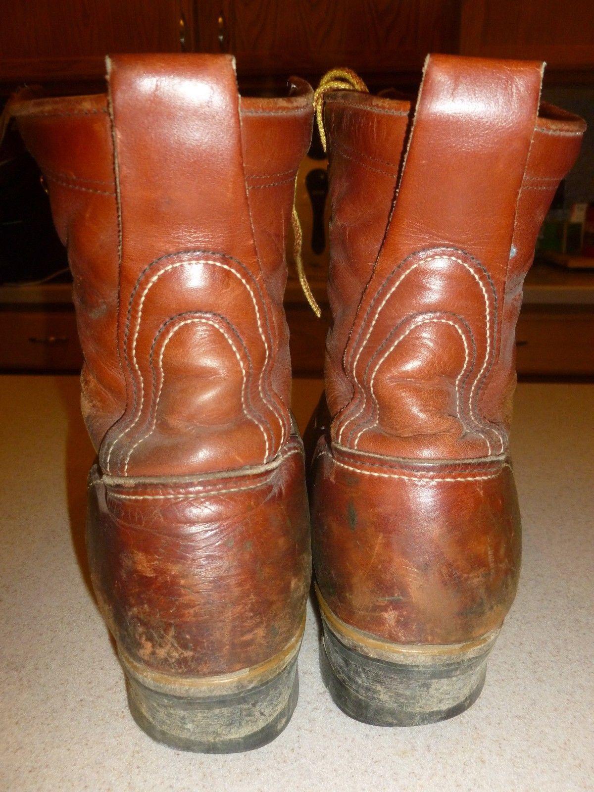 Vintage Golden Retriever Work Safety Logger Brown Leather Boots
