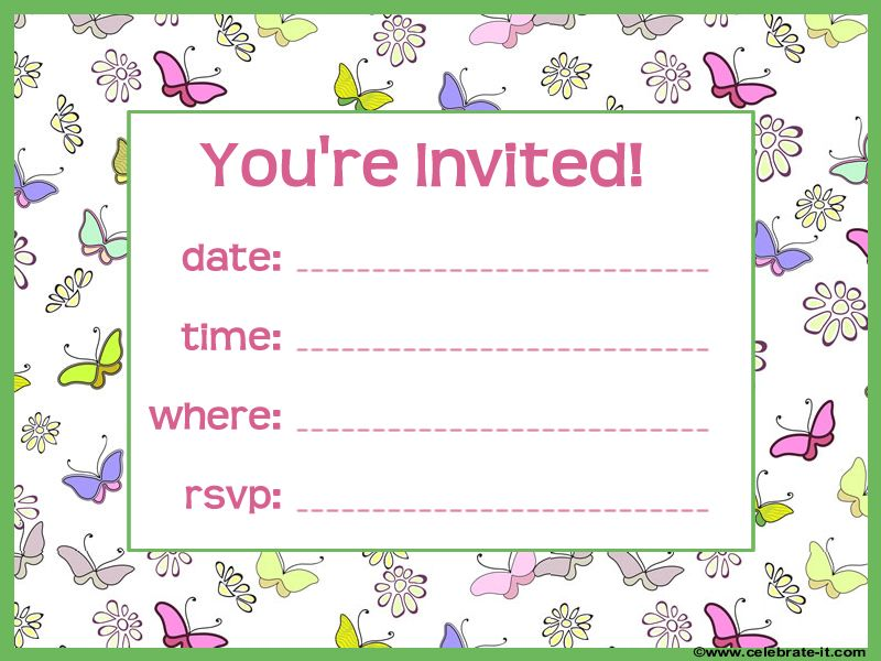 Free Butterfly Party Invitation party Pinterest – Butterfly Party Invitation
