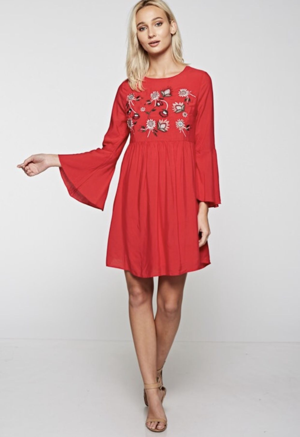 40749c86b5d Red Embroidered Dress with lace up back and poet sleeves. Wear this with  heels or flats and get ready for the compliments!  RedDress  EmbroideryTop  ...