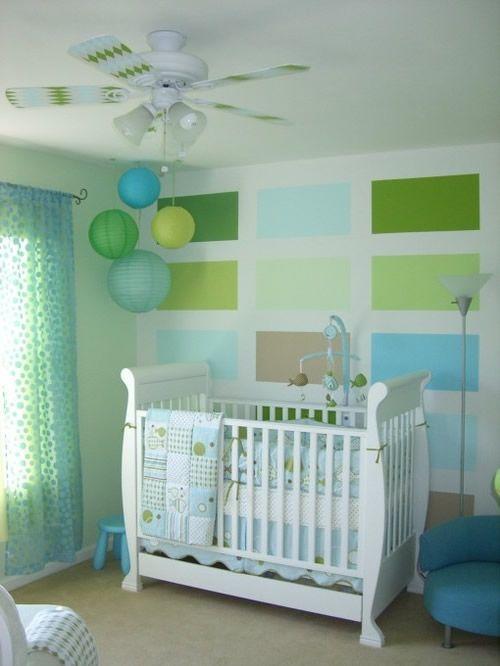 babyzimmer dekorieren braun grn farbkombination papierlaternen kinderzimmer - Kinderzimmer Braun Grun