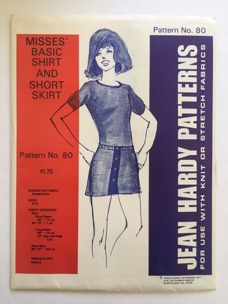 Vintage Jean Hardy Sewing Pattern 80 Misses Basic Shirt & Short ...