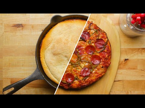 upside down one pan pizza youtube pizza recipes homemade tasty pan pizza pinterest