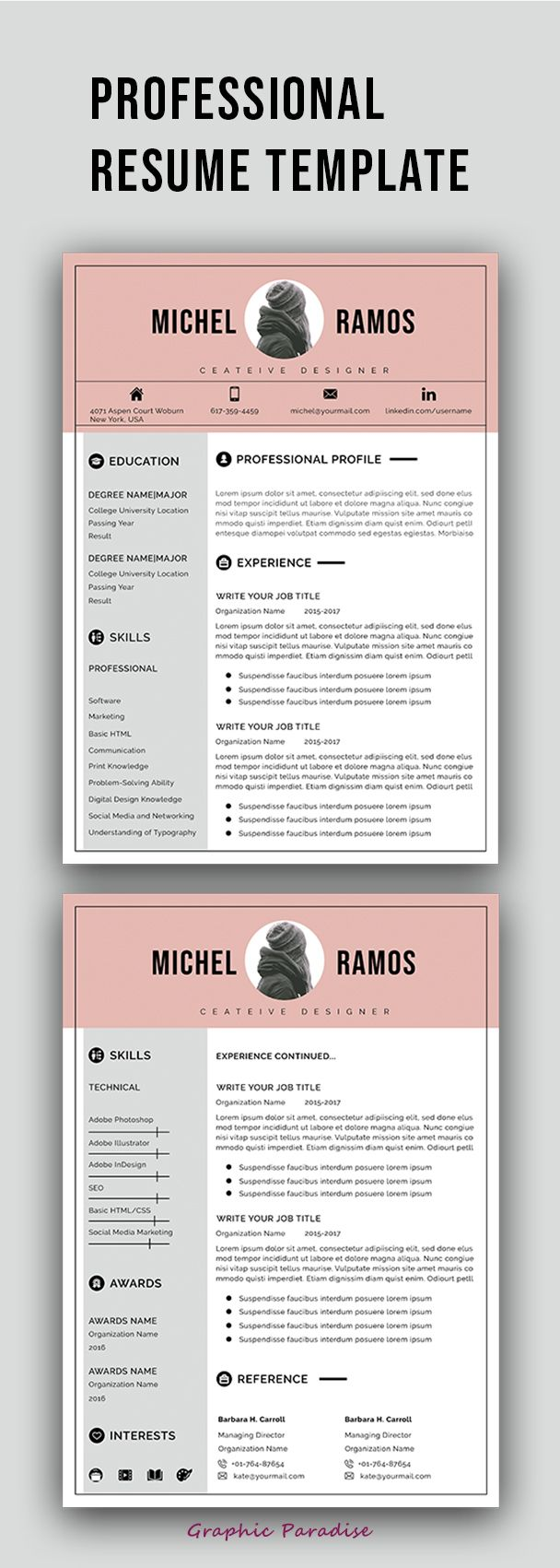 Microsoft Word Resume Template For Mac Professional Resume Template Instant Download Ms Word Resume .