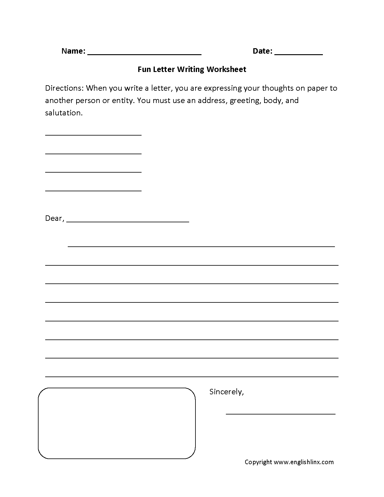 Fun Letter Writing Worksheets