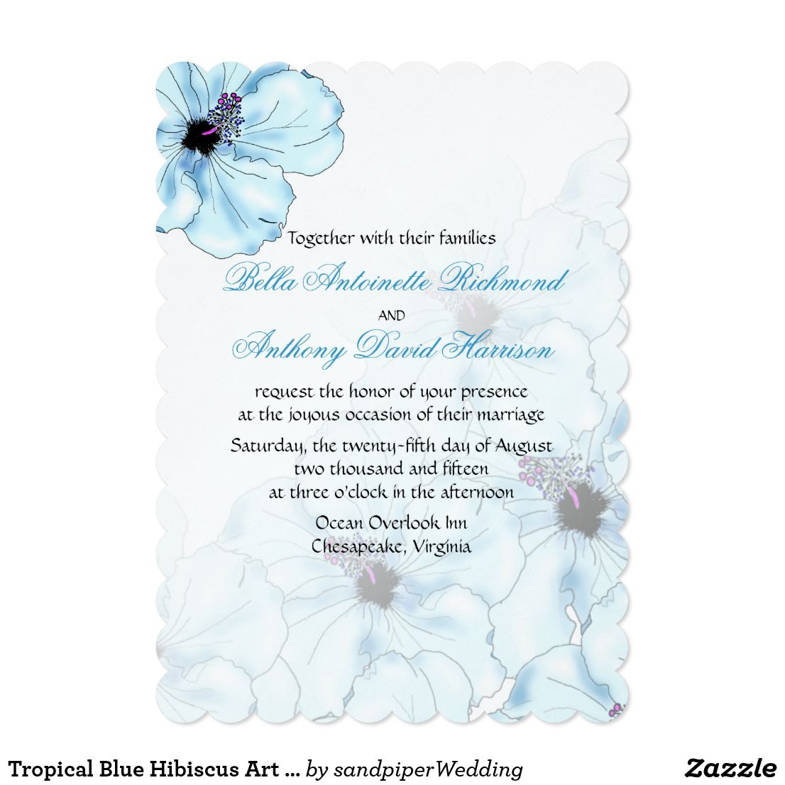 Tropical blue hibiscus art wedding invitation floral designs and
