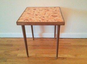 Mid century modern orange tile side table