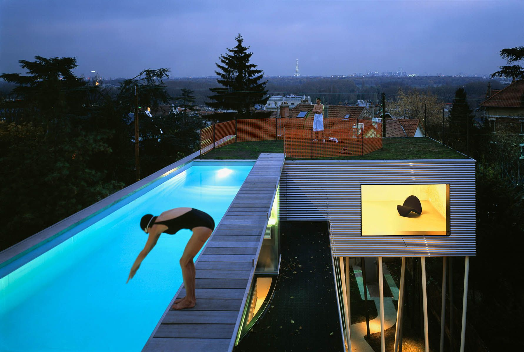 Pool Hanglage Oma, Rem Koolhaus, Villa Dall'ava, Paris, 1991 | Cool Swimming Pools, Building A Container Home, Rooftop Pool